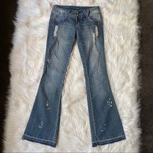 almost famous wide leg distressed jeans